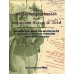 von Renz: Verleihungsurkunden zum Deutschen Kreuz in Gold